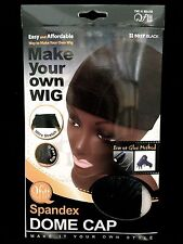 QFITT SPANDEX DOME CAP MAKE YOUR OWN WIG ULTRA STRETCH DOME CAP BLACK #5017