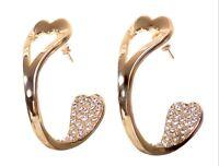 Swarovski Elements Crystal Half Open Hoop Pierced Earrings Gold Authentic 7962v