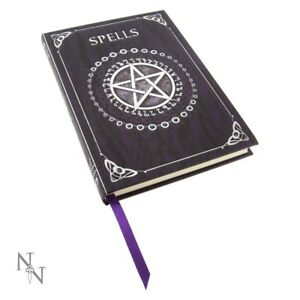 Nemesis Now Embossed PURPLE SPELL BOOK Of Shadows Pentagram Witch Wicca Journal