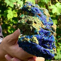 1.06LB  Natural Glittering Azurite Malachite GeodeCrystal Mineral Specimen F728