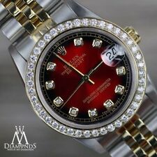 Ladies Rolex 31mm Datejust 2 Tone Red Vignette Color Dial with Diamond Accent