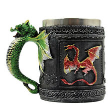 Vintage Double Wall Stainless Steel 3D Dragon Mug Coffee Cup Home Water Mug