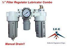 12 Combo Air Line Particulate Filter Moisture Trap Lubricator Regulator