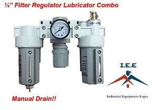 """3 Stages Compressed Air Filter Regulator Lubricator Combo 1/2"""" NPT Manual Drain"""