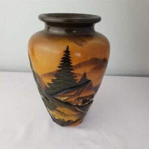 "= Unbranded Wood Vase 9-1/4"" Tall Trees Mountains Hut House Unique"