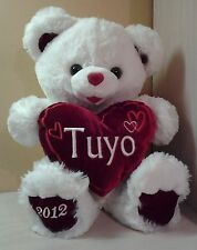 Teddy Bear Plush stuffed animal White Red Heart Pillow Tuyo  NWOT