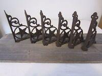 SET OF 6 FANCY FLEUR DE LIS WALL SHELF BRACKET Ornate Corbel Brace Bronze Finish