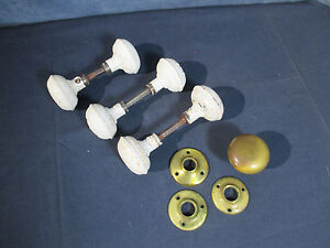 Knobs Door Antique Hardware Brass Metal Painted White Collar 3 Sets Plus Extras