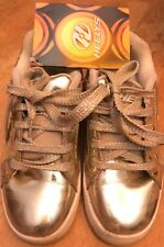 Heelys Girls Gold Roller Skate Shoes Size 3 Youth Metallic Sneakers Low Top