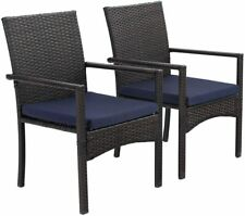 New ListingPatio Dining Chair Set of 2 Outdoor Furniture Garden Chairs w/ Removable Cushion