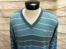 Lacoste Sweater Striped Men's XL Size 5 V-Neck