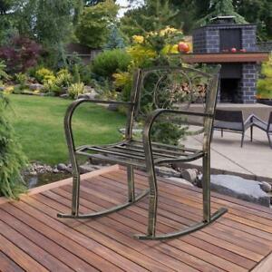 Heavy duty Outdoor Metal Double Rocking Chair patio Garden Bench Glider