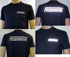 FEUERWEHR T-Shirt in marineblau / F-lang in silberreflex, Herren-Größe S bis 4XL
