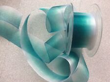 2. M GREEN / TEAL OMBRÉ ORGANZA RIBBON * DOUBLE SIDED * 4. Cm Wide *