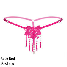 Women's Crotchless Pearl Lace Thongs Panties G-String Sexy Open Crotch Lingerie
