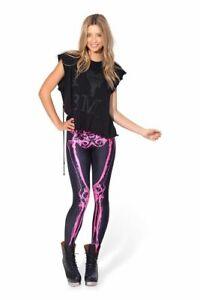 Black Milk Leg Bones Neon Pink Leggings Size S Small