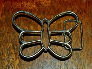 Nice Silver Tone Chrome See Through Women's BUTTERFLY Shaped Belt Buckle