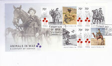 2015 Animals in War (Mini Sheet) FDC - Canberra ACT 2600 PMK