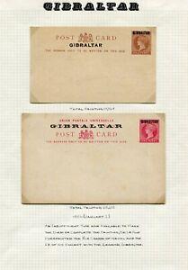 GIBRALTAR POSTAL STATIONERY ORIGINAL OLDTIME COLLECTION (50 INC 11 SPECIMEN)