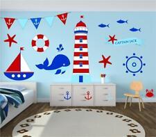 Beach Scene Sailor Kids Bedroom Bathroom Wall Art Sticker Decal Mural