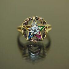 Antique Multi color stone Star ALFA 10k Yellow Gold custom Enamel Ring