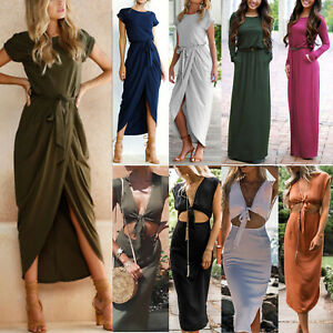 Womens Holiday Party Cocktail Wrap Dresses Casual Midi Maxi Dress Beach Summer.