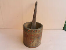 ANTIQUE PRIMITIVE PAINTED WOODEN ROUND CUP JAR  HONEY PADDLE RUSTIC EARLY 20th