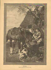 Girl Watering Horse, Horseman Flirting, Vintage, 1890 German, Antique Art Print