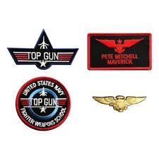 Maverick Top Gun Movie School iron on Patch (4pc With Pilot Aviator Wings Pin)