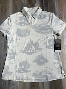 New Nike Golf Drifit Women's Nature Print Polo Shirt Off White AV3678 Sz MEDIUM