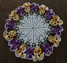 """Vintage Ruffled Pansy Crochet Lace Doily Purple Yellow Pansies 9"""""""