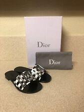 Christian Dior Logo Slide Sandal Black White Checkered 35 / 5