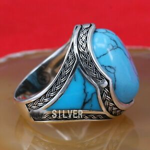 SOLID STERLING 925 SILVER HANDMADE JEWELRY ELEGANT BLUE TURQUOISE MEN'S RING