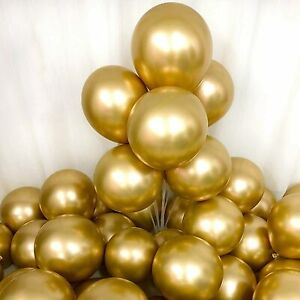 "12"" Gold Latex Chrome Metallic Balloon Balloons Party Pack"