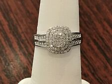 White Gold Double Oval Halo Vintage Antique Pave Style Diamond Engagement Ring