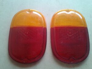 VW TYPE 2 BUS 1962-1971 REAR TAIL LIGHT LENS 2pcs W/AMBER RED FITS LEFT & RIGHT