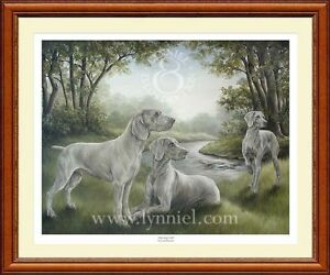 WEIMERANER limited edition dog print 'Morning Call'