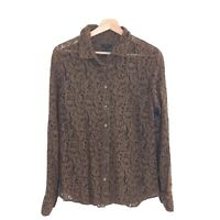J Crew Size 8 Brown Lace Long Sleeve Button Blouse Shirt Women's Top