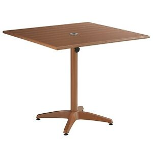 """36"""" x 36"""" Square Brown Aluminum Garden Patio Dining Table with Umbrella Hole"""