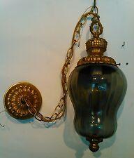 old antique vintage primitive brass glass hanging porch light ceiling Chandelier