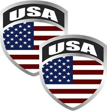 "2 - 3"" American US USA United States flag SET shield decal badge hat sticker"