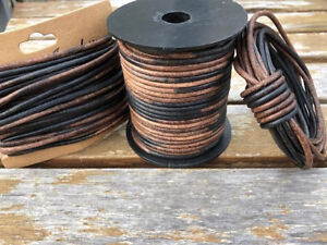 3mm Gypsy Sippa Natural Dye Round Leather Cord 3mm 25 meters (27.34 yards)
