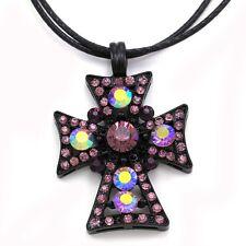 Purple Amethyst Cross Rhinestone Necklace Chain Pendant