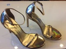 STUART WEITZMAN NEW WOMENS GOLD NUDISTSONG ANKLE STRAP HIGH HEEL SANDALS SIZE 9.