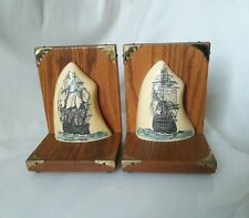 """PAIR▪SIGNED """"PT"""" ▪Faux ? Replica SCRIMSHAW BOOKENDS▪SAILING SHIPS at SEA▪VICTORY"""