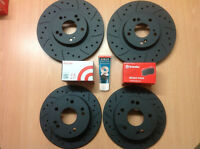 Civic Type R FN2 Front Rear Grooved MTEC Black Brake Discs & Brembo Pads & Lube