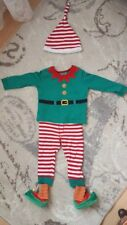 F&F CHRISTMAS ELF SUIT WITH HAT shoes AGE 6-9 MONTHS