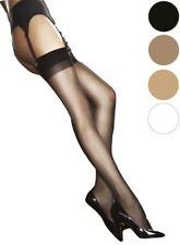 Bas sexy femme pour porte-jarretelle noir blanc tan naturel 20 den FIORE T234567