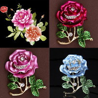 Vintage Women Bridal Crystal Rhinestone Peony Flower Bouquet Brooch Pin Jewelry