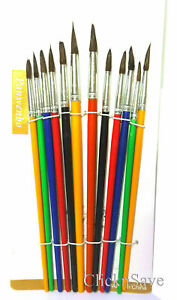 12pcs Various Sizes Artist Pointed Paint Brushes Set Small & Large Thin & Thick